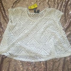 Tillys cream crochet crop top